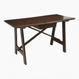 Italian Walnut Trestle Table with Floating Drawer