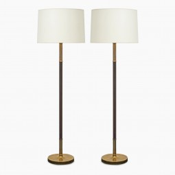 Pair of Brass and Brown Leather Standing Lamps
