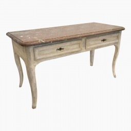 French Painted Console Table with Original Marble Top