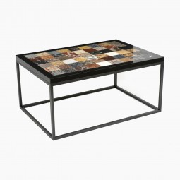 Iron Table with Specimen Marble Top