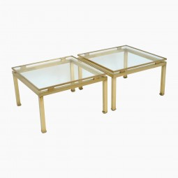 Pair of Glass and Brass Tables
