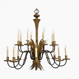 Black and Gilt Metal Chandelier