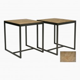 Pair of Steel Tables with Antique Oak Parquetry Tops