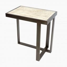 Rectangular Iron and Limestone Asymmetrical Drinks Table