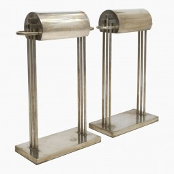 Pair of Nickel over Brass Marcel Breuer Table Lamps
