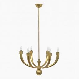 Six Arm Brass Chandelier by Guglielmo Ulrich