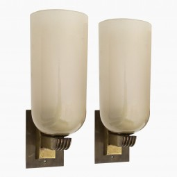 Pair of Murano Glass and Brass Wall Sconces