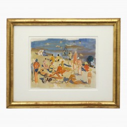 French Watercolor Beach Scene