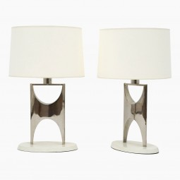 Pair of Shaped Nickel Plated Table Lamps