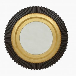 Circular Wood Black and Gold Mirror