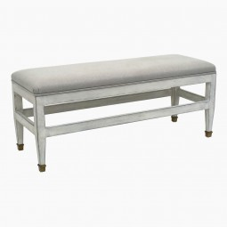 Painted Bench with Linen Upholstered Top