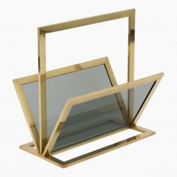 Italian Brass and Glass Magazine Rack