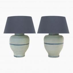Pair of Light Blue Ceramic Lamps