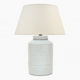 Ribbed White Stoneware Lamp