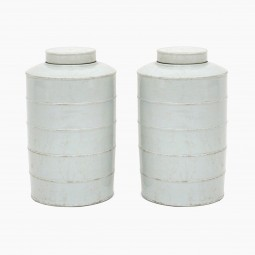 Pair of White Ironstone Cannisters