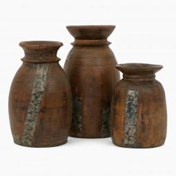 Set of Three Antique Wood Milk pot Vases