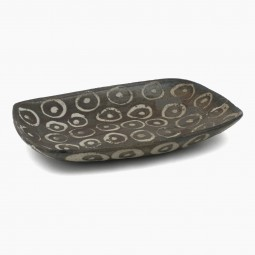 Stoneware Studio Platter in Brown and gray