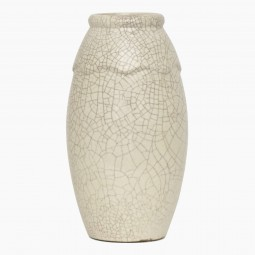 Tall White Crackle Vase with Undulating Neck