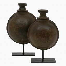 Set of Two Antique Earthenware Flasks on  Stands