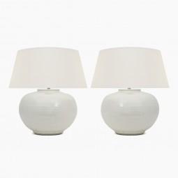 Pair of Circular White Glazed Lamps