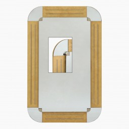 Blond Veneered Wood Mirror With Inset Chrome Strips