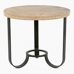 Circular Iron Table with Stone Top