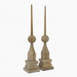 Pair of Tall Wooden Finials