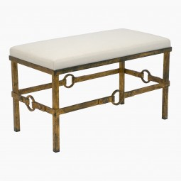 Gilt Iron Bench with Ring Details
