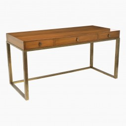 French Walnut Desk on Brass Base