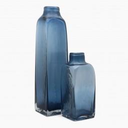 Set of Three Blue Glass Bottle Vases
