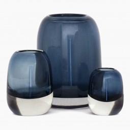 Set of 3 Molded Blue Glass Vases