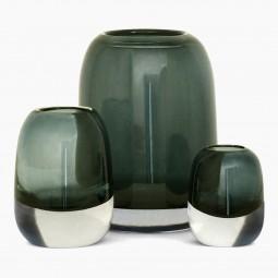 Set of 3 Molded Gray/Green Glass Vases