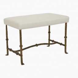Gilt Iron Bench with Upholstered Seat