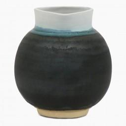 Blue, Charcoal and White Stoneware Vase