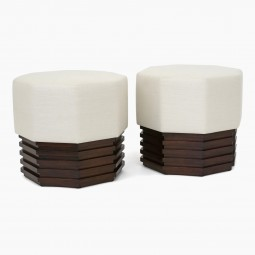 Pair of Octagonal Upholstered Stools