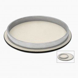 Italian Round Leather and Chrome Tray