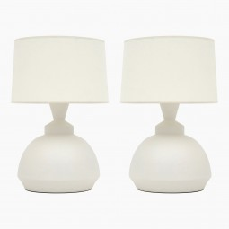 Pair of Italian White Matte Ceramic Lamps