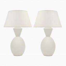 Pair of White Matte Ceramic Lamps