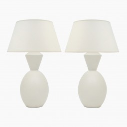 Pair of White Matte Ceramic Lamps