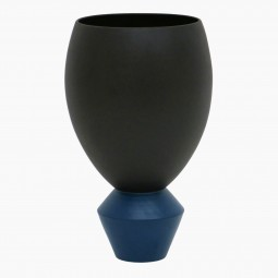 Matte Black Vase with Blue base