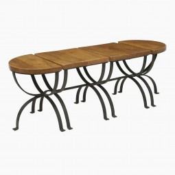 Set of Four Oak and Steel Tables