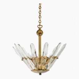 Brass and Glass Light Fixture
