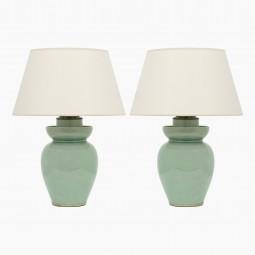 Pair of Celadon Ceramic Lamps
