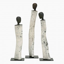 Set of Three Figural Sculptures by Roselyne Montassier-Cormier
