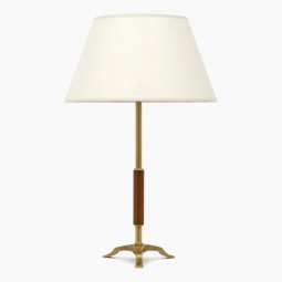 Small Brass and Wood Column Lamp