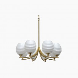 French Brass and Milk Glass Chandelier