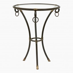Round Brass and Glass Table