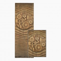 Large Carved Wood Wall Sculpture