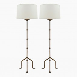 Pair of Gilt Iron Standing Lamps