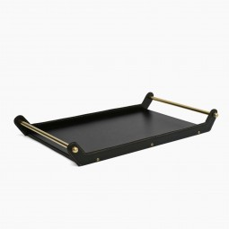Leather and Brass Tray by Jacques Adnet